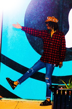 black Dr Martens sandals - blue H&M jeans - brown hat - brick red shirt