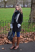 black Stradivarius coat - burnt orange Clarks boots - navy new look scarf