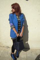 blue vintage jacket - gray vintage sweater - blue vintage shoes