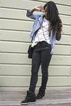 black Urban Outfitters jeans - blue Gap jacket - black coach bag