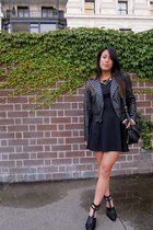 black trouve jacket - black foreign exchange dress - black Dooney & Bourke bag