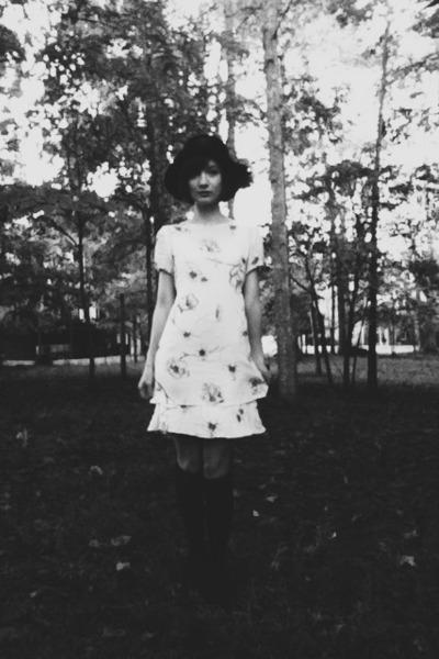 black vintage hat - white thrifted dress - black knee high Ebay stockings