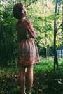 Tan-ruche-dress-maroon-poetic-license-flats