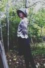 Wool-cloche-hat-silk-floral-ruche-blouse