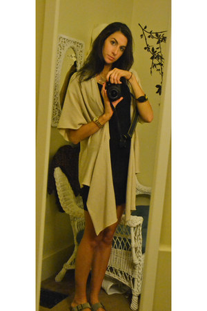 Express dress - Birkenstock sandals - banana republic cardigan - DKNY watch