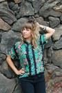 Strechy-levis-jeans-knit-diy-toque-hat-aloha-hawaiian-silk-company-blouse