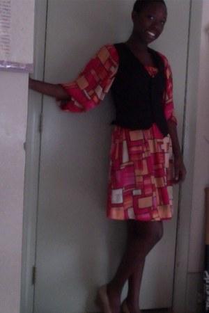 H&M dress - tan wedge Dexter shoes - black pinstripe H&M vest