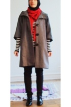 from a bazaar scarf - short sleeve F21 coat - striped F21 sweater - skinnified S
