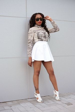 blouse - skater skirt American Apparel skirt - Jeffrey Campbell pumps