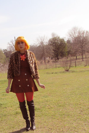 Forever 21 boots - vintage dress - kohls jacket - Forever 21 tights