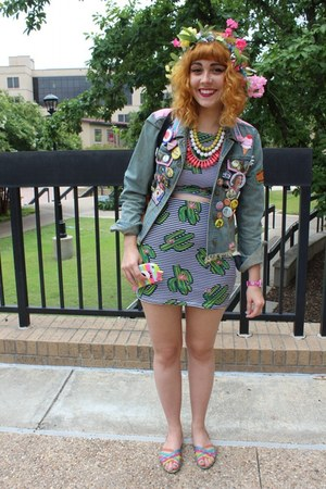 DIY jacket - Forever 21 necklace - flower crown DIY hair accessory