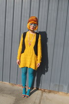 vintage hat - Nasty Gal shoes - thrifted sweater - Forever 21 tights