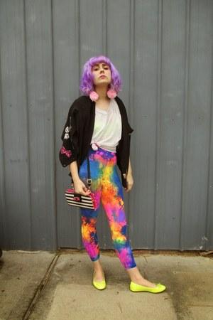 thrifted sweater - We Love Colors leggings - Betsey Johnson purse - DIY earrings