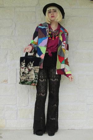Forever 21 pants - vintage hat - vintage jacket - Forever 21 blouse