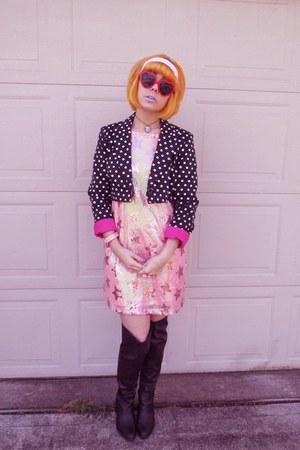 thrifted diy jacket - Forever 21 boots - Boohoo dress - Ebay sunglasses
