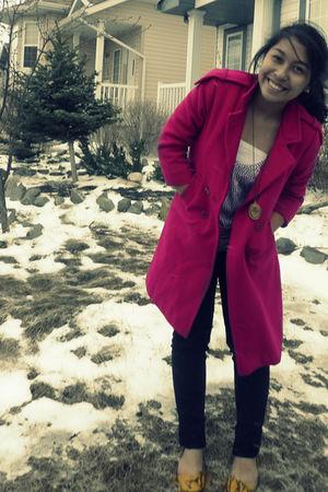 pink coat - purple tailored blouse - black jeans - yellow Primadonna shoes - gol