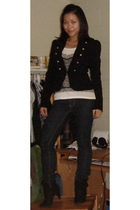 black Forever 21 blazer - black sears shoes - blue JC Pennys jeans - white Guess