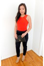 Red-cotton-h-m-shirt-black-h-m-pants-neutral-bcbgeneration-heels