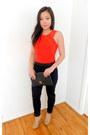 Red-cotton-h-m-shirt-black-h-m-pants-neutral-bcbgeneration-heels