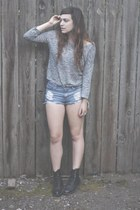 vintage boots - H&M sweater - Forever 21 shorts
