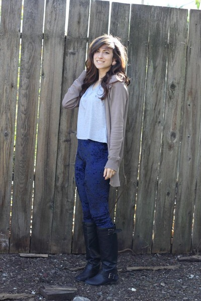Forever 21 boots - romwe leggings - Silence & Noise shirt - papaya cardigan