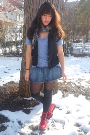 American Apparel shirt - Guess skirt - doc martens boots