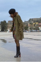 black Zara boots - united colors of benetton dress - olive green H&M coat