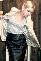 vintage skirt - Country Road blazer - vintage t-shirt - Black Lily belt -