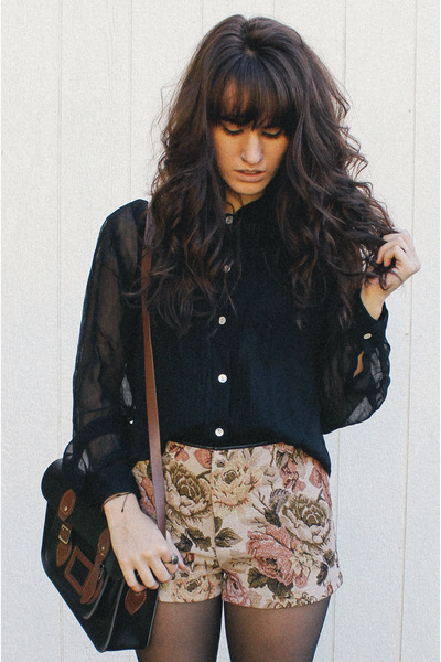 black bag - dark brown boots - crimson Black Swan shorts - black vintage blouse