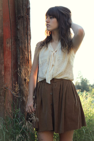 brown skirt - dark brown vintage bag - ivory blouse