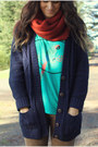 Navy-cardigan-turquoise-blue-shirt-burnt-orange-h-m-scarf