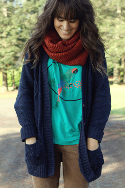 navy cardigan - turquoise blue shirt - burnt orange H&M scarf