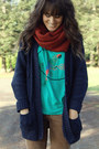 Turquoise-blue-shirt-burnt-orange-h-m-scarf-navy-cardigan