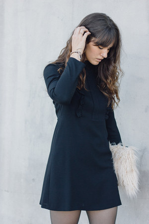 black Zara boots - black Zara dress - eggshell Story of Lola bag