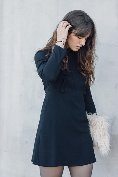 black Zara boots - black Zara dress - eggshell Story of Lola bag