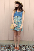 sky blue vintage for sale dress - light yellow vintage bag