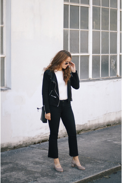 black Azalea coat - black Frame jeans - white Reformation t-shirt