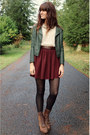 Dark-green-black-sheep-clothing-jacket-ivory-sequin-collar-blouse