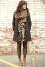 Camel-vintage-boots-black-floral-dress-army-green-vintage-coat-brown-scarf