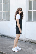 white Reebok sneakers - black asos dress - white Topshop t-shirt