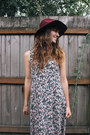 Off-white-vintage-dress-maroon-hat-black-clogs