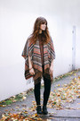 Black-shellys-london-boots-brown-free-people-top-tawny-free-people-cape