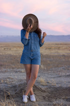 blue denim Forever 21 romper - light brown Urban Outfitters hat
