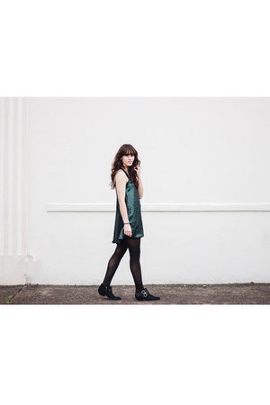black Shellys London boots - teal NBD dress - gray kate spade coat