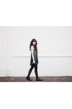 black Shellys London boots - teal NBD dress - gray kate spade coat