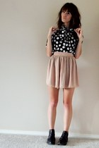 polka dots top - chiffon American Apparel skirt