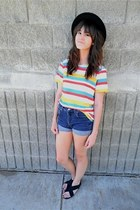 blue diy vintage shorts - ruby red vintage top - white vintage top - light yello