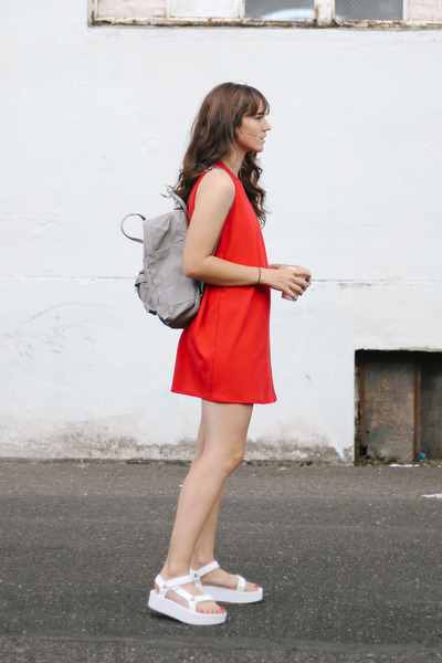 white Teva sandals - red Zara dress - heather gray fjallraven bag
