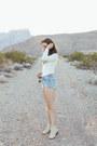 Tan-matisse-boots-sky-blue-levis-shorts-ivory-pylo-bodysuit