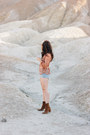 Brown-free-people-boots-sky-blue-levis-shorts-salmon-amuse-society-top